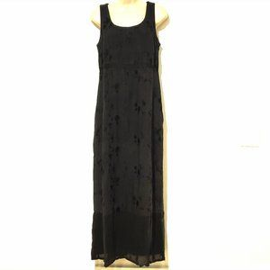 Johnny Was Black Linen Floral Maxi Dress S…